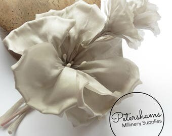 Silk 'Katie May' Millinery Flower Hat Mount for Bridal Fascinator Headdresses  - Pale Grey