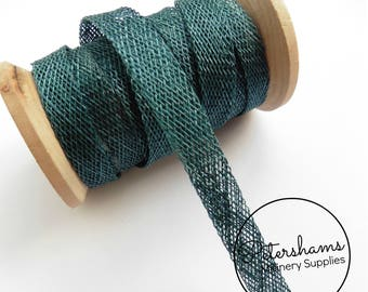 1cm Sinamay Bias Binding Tape Strip (1.6m/1.7yards) for Millinery & Hat Making - Teal