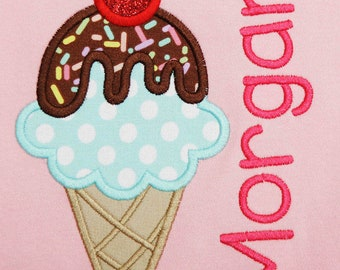 Girls Personalized Ice cream Cone Shirt, Birthday Shirt, Ice cream Birthday Outfit, You pick the fabrics and font, Any Colors