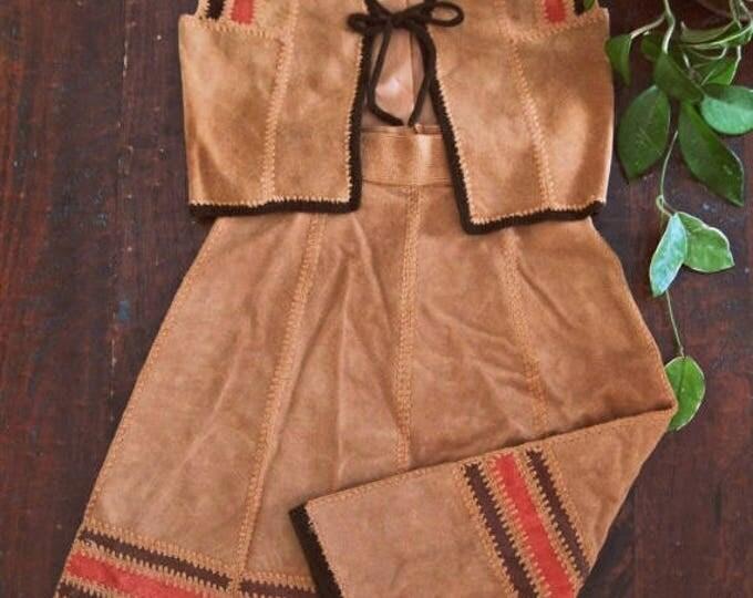 WINTER SALE Vintage 70s suede leather set / matching Hippie vest and skirt  /  crochet trimmed patchwork Boho skirt and vest