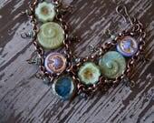 Beach Ladder Bracelet - Green and Purple Bracelet - Chain Bracelet - Boho - Bohemian Jewelry - Chain Cuff - Bead Soup Jewelry