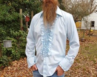 Mens Shirt, Tuxedo Shirt, Ruffled Tuxedo Shirt, 70s Shirt, Vintage Tuxedo, 70s Tuxedo Shirt, Vintage Shirt, Blue Tuxedo Shirt, After Six