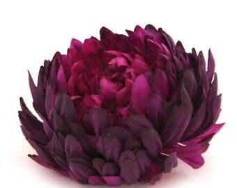 Deep Plum Purple Mum - Artificial Flowers, Silk Flower