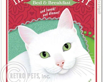 11x14 Cat Art - The Insistent Kitty - Bed and Breakfast - Art print by Krista Brooks