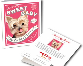 """Yorkie Art """"Sweet Baby"""" 6 Small Greeting Cards by Krista Brooks"""