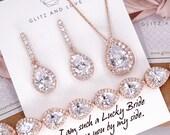 Rose Gold Wedding Bridesmaid Gift Bridal Earrings Necklace Bracelet Jewelry Set Clear White Cubic Zirconia Teardrop Ear Studs E306 B85 N221