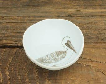 Pelican Woodgrain Dish by SKT Ceramics. Hand built porcelain dish, jewelry dish, olive oil dish, tapas dish by SKT Ceramics