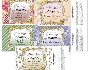 Premade Labels, Lotion Label Template, Body Spray Label,  Customized Labels, Graphic Design, Package Design, You Print
