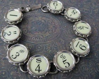 Typewriter Key Bracelet - Antique Typewriter Jewelry -  B0072 - Numbers