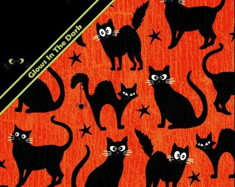 Henry Glass - Fangtastic - Glows in the Dark - Black Cats - Orange - Fabric by the Yard 1096G-30