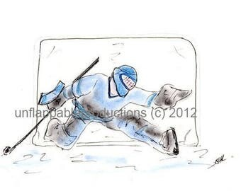 Hockey Goalie Set of Five Note Cards or Invitations withh Matching Envelopes Personalization Free of Charge