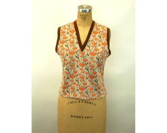 1970s knit vest pullover cropped orange brown floral Size M