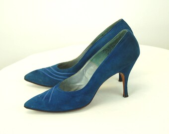 1950s heels pumps blue suede leather pointed toe stiletto heel Size 9 narrow or 8.5
