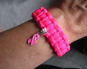 Breast Cancer Support Paracord Bracelet, Women's, Hot Pink, Support Team, A