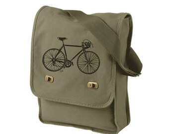 Bicycle Messenger Bag, Screen-printed Speed Bike Field Bag,  Cotton Canvas Laptop Bag, Olive Drab, Gifts For Men, Cyclist Gift, Road Bike