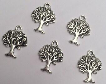 Set of 5 Tibetan silver tree charms