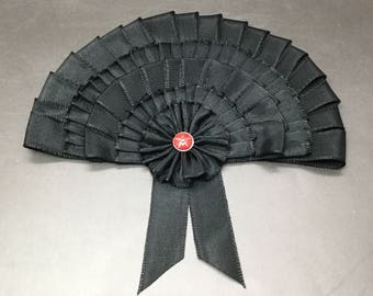 Art Deco Black Millinery Fan Cocarde Applique