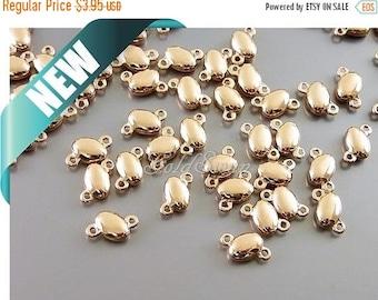 15% SALE 10 pcs shiny rose gold pebble charm connectors, charmed bracelet 2130-BRG (10 pcs)