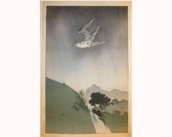 vintage bird woodblock print Yoshimoto Gesso early impression