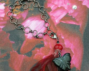Red Peony Bag and a Bracelet Eco Friendly Tote and Red Feather and Black Butterfly Ankle Bracelet