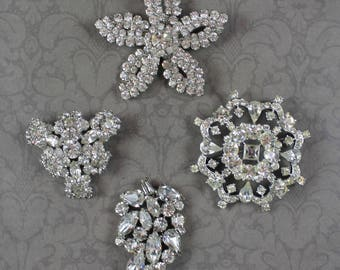 Lot of 4 Vintage Clear Rhinestone Sparkling Silver Tone Brooches
