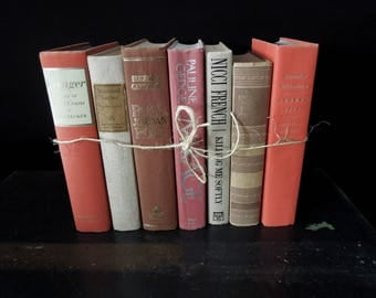 Beige, Brown and Coral - Earthtone Books by the Foot - Books for Decor - Vintage Book Stack - Bookshelf Decoration