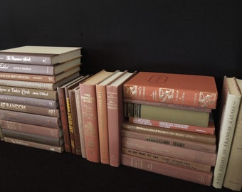 Russet Umber Chocolate Penny Brown & Dark Tan Hardcover Books By The Foot - Books By Color - Book Stack - Book for Decor - Instant Library