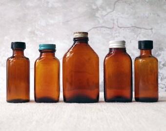 Vintage Amber Glass Jars Bottles Lot of 5 Old Bottles with Caps