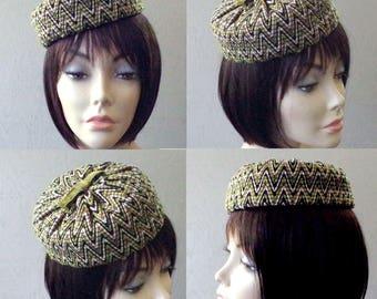 Vintage PillBox Hat - Ladies Chevron Green Black Chapeau - Union Made Velvet Cotton Pill Box Hat