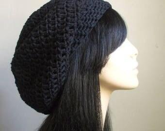FLASH SALE COTTON Cute Crochet Hat // Hot Women Fashion // Crochet Slouchy Beret // Tam Hat // Black Super Cute Unisex Hat // aWeSomE Style