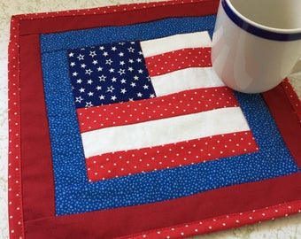 Mug Rug American Flag in Red White and Blue - Quilted Patchwork Placemat or Coaster