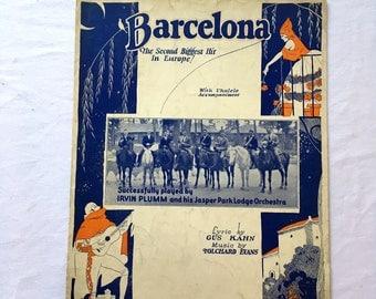 1926 Barcelona Sheet Music. With Ukulele Accompaniment. Irvin Plumm & Jasper Park Lodge Orchestra. Vintage Sheet Music. Antique Music