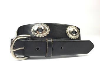 Vintage Black Leather Concho Belt by Santa Fe Leather Co