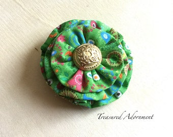 Fabric Flower Hair Clip, yellow green print, gold vintage bottom, Xmas Hair clip, Holiday Hair clip, fabric hair clip accessory