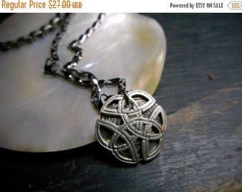 SALE Men's Celtic Knot Irish Symbol Necklace. Gunmetal chain. gift for him under 30
