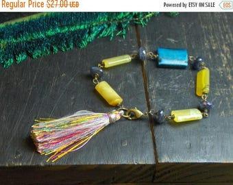 SALE The Luna Moon Goddess Bracelet Faceted Sapphires Peruvian Opals wood and vintage silk tassel gypsy boho bracelet. OOAK handmade by Chym