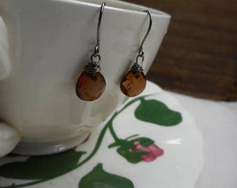 SALE Anise color Amber Lucite faceted briolette dangle earrings .