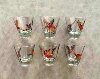 set of 6 pheasant drink glasses - 1211491