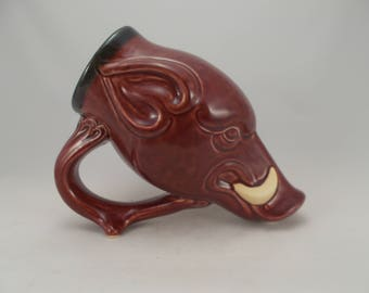 Wild Boar Drinking Horn Beer Mug, Razorback Hog Mug, Sculpture Art , Bar Drinkware,