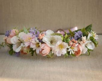 Pastel Flower Crown Full Halo - Pink White Purple Flowers - Greenery - Weddings - Well Dressed Wolf - Dollcake - Flower Girl - Bridal - Boho