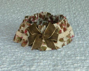 """Leaves on Beige Dog Scrunchie Collar - gimp trim and brown linen - Size M: 14"""" to 16"""" neck"""
