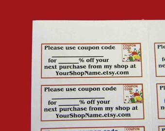30 PERSONALIZED Coupon Code Labels. 1 Sheet of White 1-Inch Labels. 5306