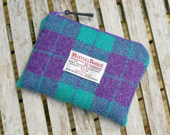 Small makeup bag, purple and jade checked HARRIS TWEED, small wool pouch, handmade in Scotland