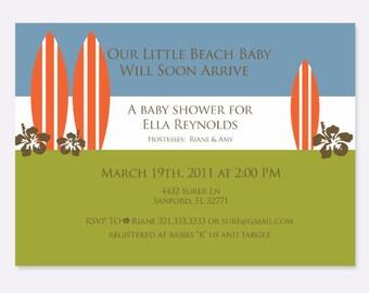 Surfer Birthday/Baby Shower Invitation, Summer Party Invitation, Pool Party Invitation,  Baby Shower Invitation, Custom Party Invitation