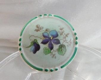 SALE Vintage Schumann Porcelain Brooch. Bavaria. Morning Glory. Handpainted.