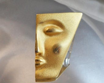 SALE Vintage Abstract Face Brooch. Large. Brushed Gold Tone. Egyptian Revival Pin.