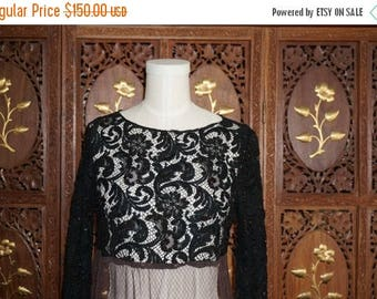 ON SALE 1990S Language New York  Black Lace Beaded Blouse Sz 2
