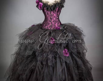 Size Medium plum and black burlesque tulle ball gown READY TO SHIP