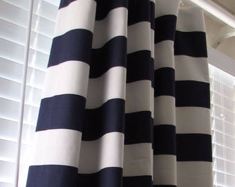 Navy Blue And White Horizontal Striped Curtains Window Treatments Nautical