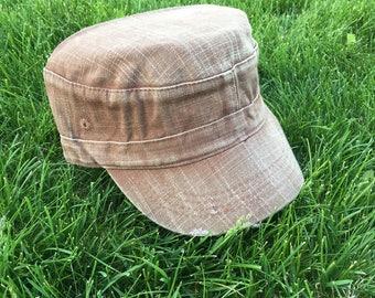 Tan Denim Hat womens hat, levi distressed hat, Cadet Cap, levi baseball cap, mens hat, brown hat, military hat, khaki baseball hat,